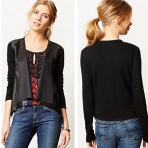 Anthropologie Faux Leather Cardigan, Small (S)